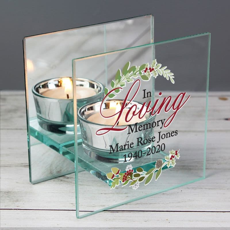 Personalised In Loving Memory Christmas Mirrored Glass Tea Light Holder   Personalised In Memory Gifts   The Present Season