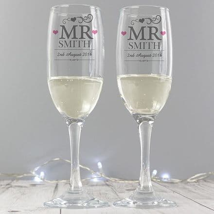 Personalised Mr & Mr Pair of Glass Flutes with Gift Box
