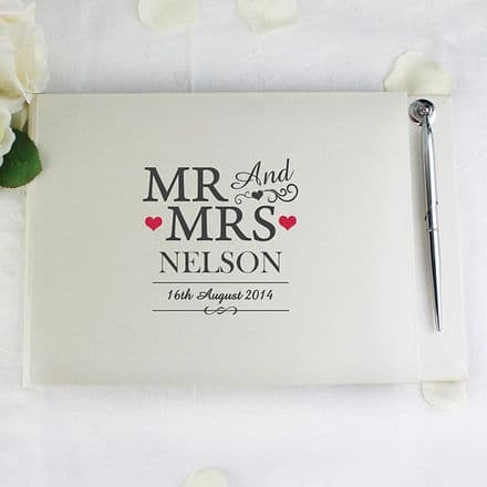 Personalised Mr & Mrs Guest Book & Pen