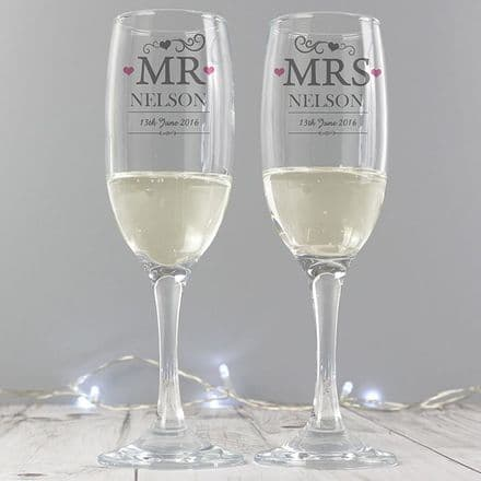 Personalised Mr & Mrs Pair of Glass Flutes with Gift Box