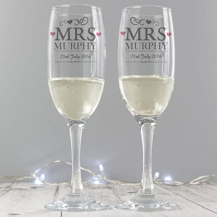 Personalised Mrs & Mrs Pair of Glass Flutes with Gift Box