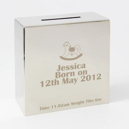 Personalised Rocking Horse Square Money Box
