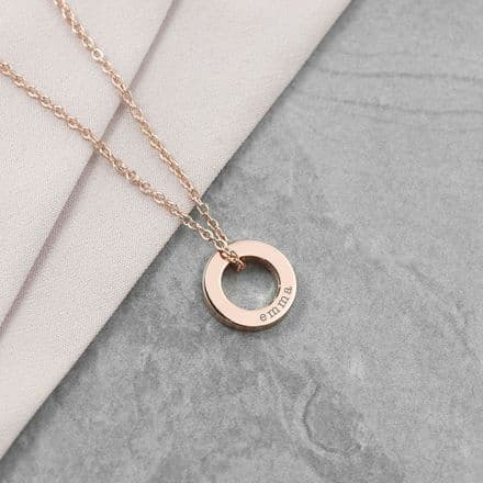Personalised Rose Gold Plated Mini Ring Necklace
