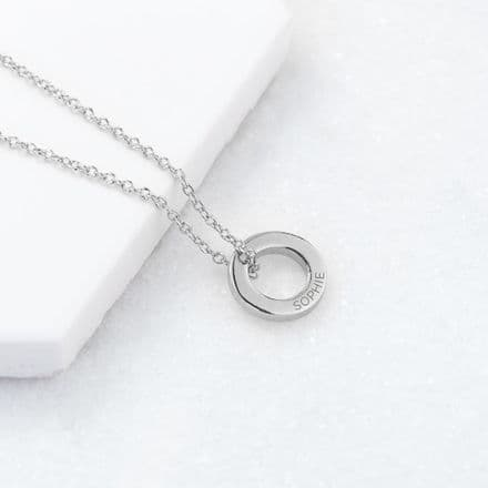 Personalised Silver Plated Mini Ring Necklace