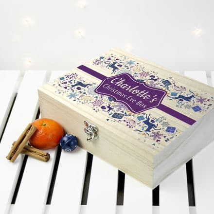 Personalised Traditional Blue & Purple Christmas Eve Box - Small