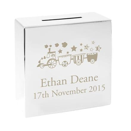 Personalised Train Square Money Box