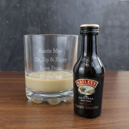 Personalised Tumbler Glass & Miniature Baileys Set