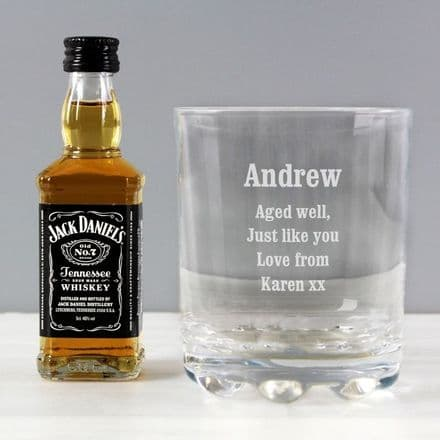 Personalised Tumbler Glass & Miniature Jack Daniels Whisky Set