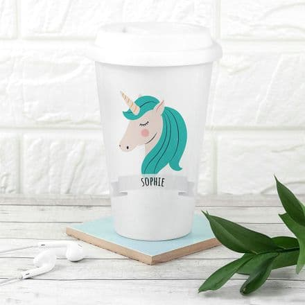 Personalised Unicorn Sparkle Squad Ceramic Travel Mug