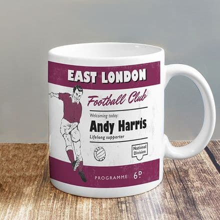 Personalised Vintage Football Claret Supporters Mug