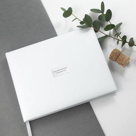 Personalised White Leather Wedding Guest Book - Large