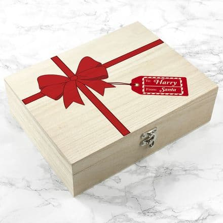 Personalised Wooden All Wrapped Up Christmas Eve Box - Small