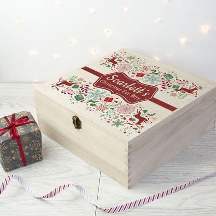 Personalised Wooden Red & Green Christmas Eve Box - Large