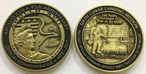 Apollo 17 45 Years (1) Minted With Flown To Lunar Orbit Metal