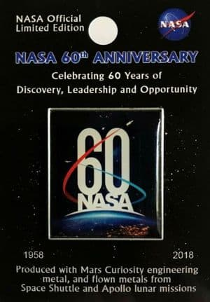 NASA 60 Years Lapel Pin with flown metal
