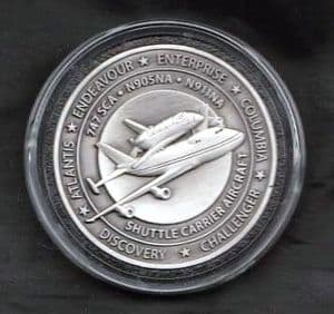 NASA Shuttle Carrier Aircraft (SCA) Medallion with Flown Metal