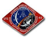 NASA STS-40 Columbia Embroidered Space Shuttle Mission Patch