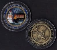 SPACE SHUTTLE ATLANTIS MEDALLION WITH SPACE FLOWN METAL