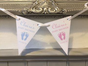 Baby Shower Paper Bunting - Footprints