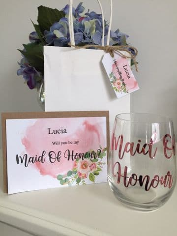 Bridesmaid Proposal Gift - Stem less Wine Glass