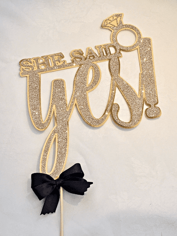 Engagement Cake Topper - Gold