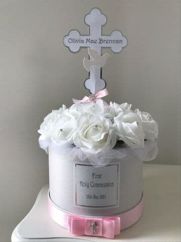 First Communion Table Decoration Personalised,  Pink