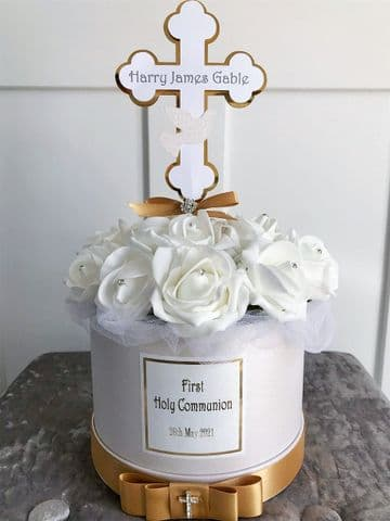 First Communion Table Decoration Personalised,  White & Gold