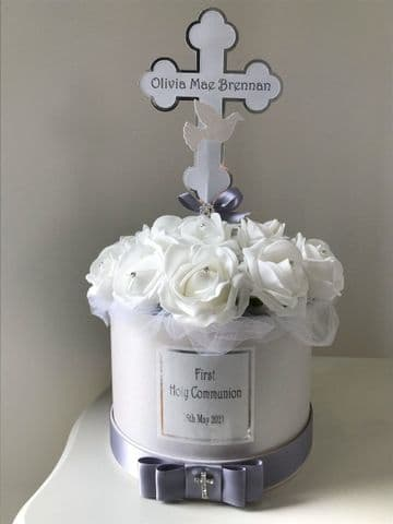 First Communion Table Decoration Personalised, White & Silver