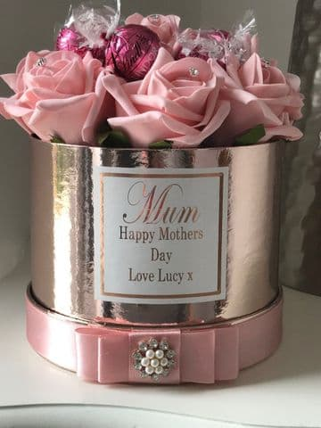 Mothers Day Rose Filled Hat Box & chocolates