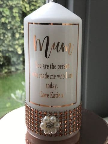 Mum Personalised Candle - Rose Gold