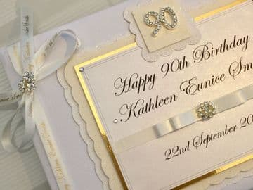 Personalised 90th Birthday Guest Book - Ivory & Gold