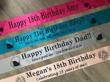 Personalised Any Age Birthday Banner