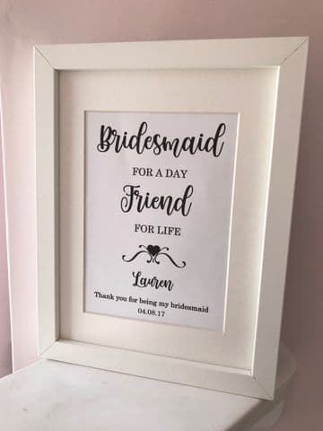 Personalised Bridesmaid Thank you Gift