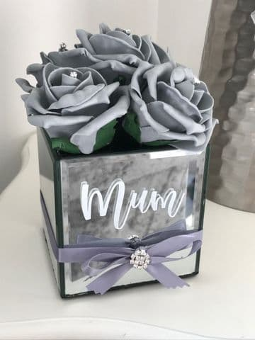 Personalised  Mirror Cube Vase  With Roses - Mum