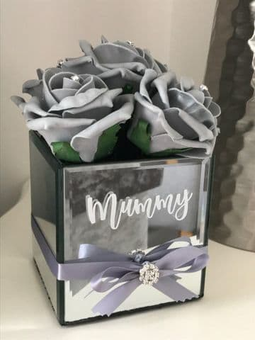 Personalised  Mirror Cube Vase  With Roses - Mummy