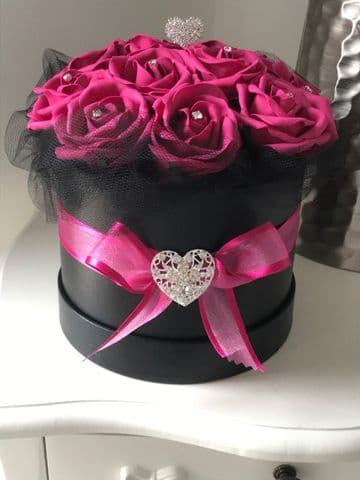 Pink Rose Filled Hat Box