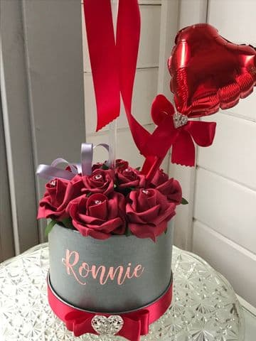 Red Rose Flower Hat Box