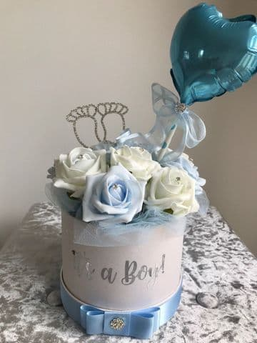 Rose Filled Hat Box Its A Boy New Baby Gift