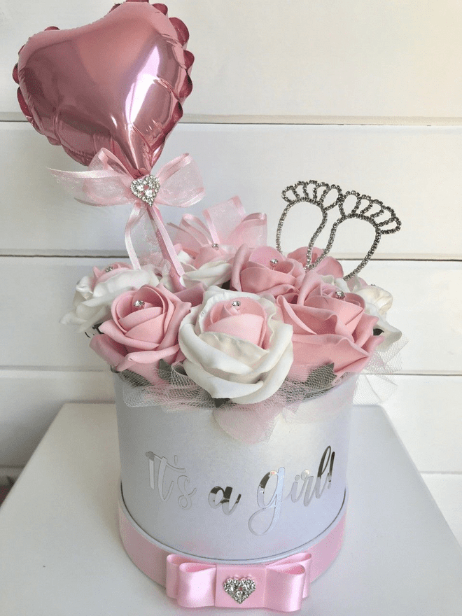 Rose Filled Hat Box Its A Girl, New Baby