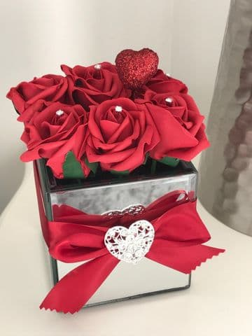 Rose Filled Mirror Cube Valentines Gift