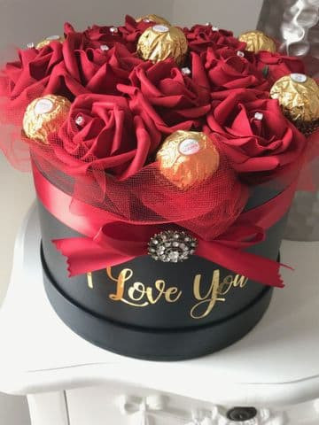 Valentines Rose & Chocolate filled Hat Box - I Love You