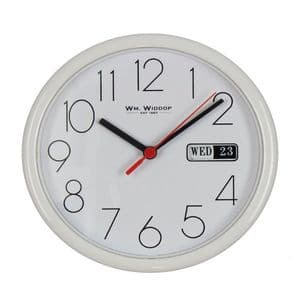 21cm White Wall Clock Displays Date & Day