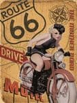 American Riding Route 66 Motorbike Retro Steel Metal Wall Plaque Sign Gift
