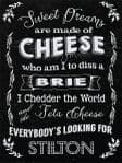Cheese Metal Plaque Novelty Sign Kitchen Decor Fun Gift Black