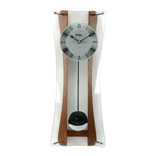 Oak & Glass HourGlass Pendulum Wall Clock 48x19cm Roman Numerals