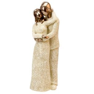 Resin Cream & Bronze Effect Couple Figurine