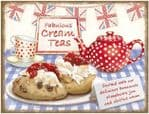 Retro Cream Afternoon Tea Scone Metal Steel Plaque Sign