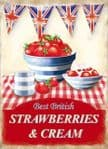 Retro Strawberries Cream Tea Metal Steel Plaque Sign