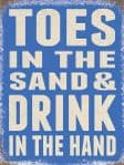 RETRO VINTAGE STYLE METAL WALL SIGN TIN PLAQUE SAND TOES BEACH SEASIDE