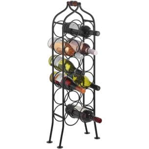 Tall Metal 12 Bottle Wine Rack Black Wrought Iron 85 cm